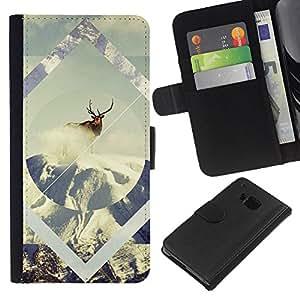 JackGot ( Geometría de la nieve de los ciervos ) HTC One M7 la tarjeta de Crédito Slots PU Funda de cuero Monedero caso cubierta de piel