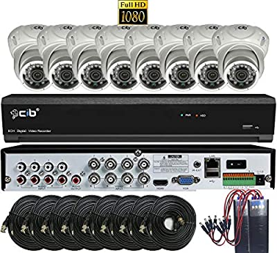 CIB True Full HD 8CH 1080P Recording and Display DVR System with 2TB HDD and 8 2Megapixel Vandal Dome Cameras Network Remote Viewing - H80P08K2T03W-8KIT