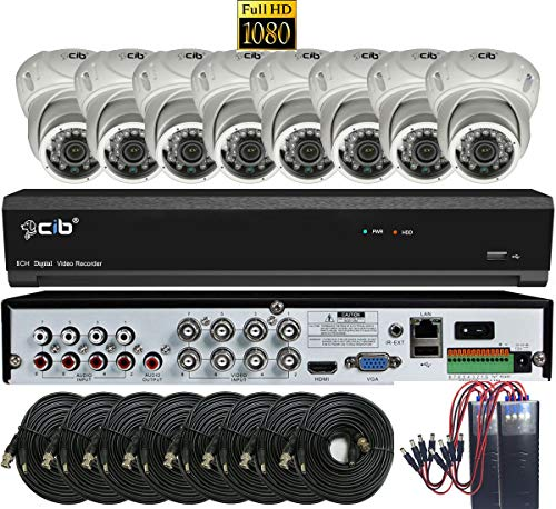 CIB True Full HD 8CH 1080P Recording and Display DVR System with 2TB HDD and 8 2Megapixel Vandal Dome Cameras Network Remote Viewing – H80P08K2T03W-8KIT