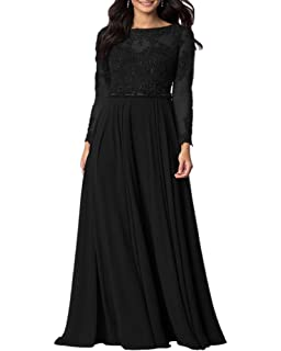 f2e3eb2d72 Aofur Womens Long Sleeve Chiffon Party Evening Dress Formal Wedding Prom  Cocktail Ladies Lace Maxi Dresses