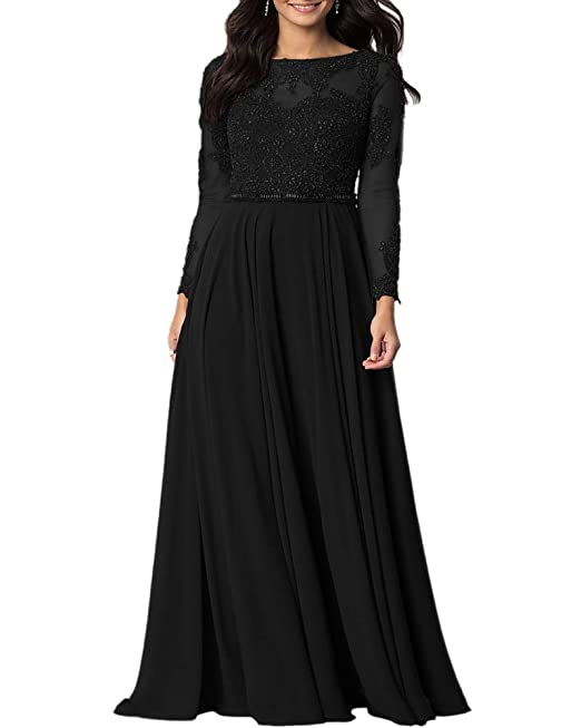 clients first 100% original where can i buy Aofur Womens Long Sleeve Party Evening Dresses Formal Wedding Prom Cocktail  Gown Ladies Lace Chiffon Maxi Dress