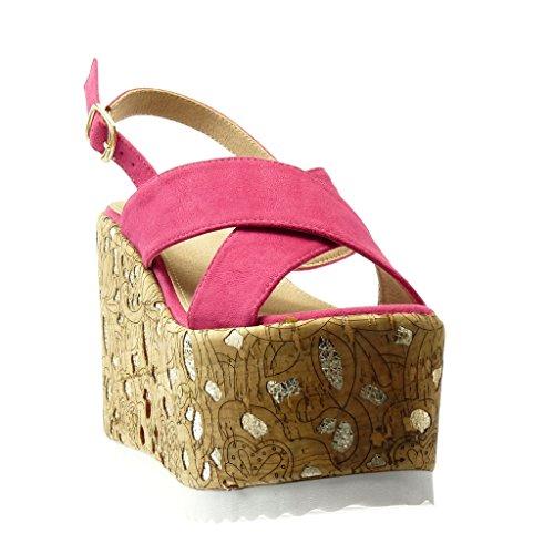 Mule cm Fuschia Compensé Liège Fantaisie Plateforme Doré Chaussure 5 Femme Talon Mode Sandale Angkorly Plateforme 12 twqRgZ6