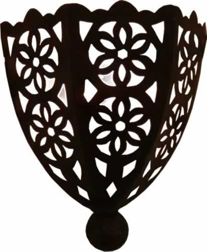Wall Lamp Shade H30 W24 D10 cm Hand Pierced Half Moon Metal Moroccan