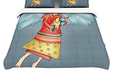 104 x 88 Kess InHouse Carina Povarchik Guardian Angel Blue Multicolor Cotton King Duvet Cover