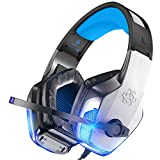 BENGOO V-4 Gaming Headset for Xbox One - PS4 - PC - Controller - Noise Cancelling Over Ear Headphones with Mic - LED Light Bass Surround Soft Memory Earmuffs for PS2 Mac Nintendo Switch Games