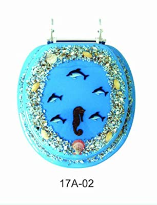 Trimmer Mother of Pearl Polyresin Toilet Seats With Dolphins And Coral in Blue Ocean