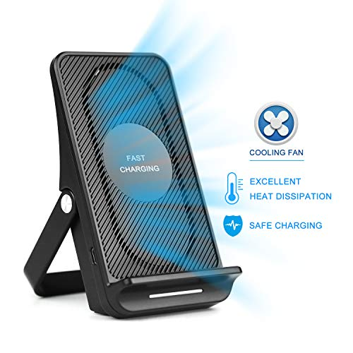 - Air-Cooled Wireless Fast Charger, Cooling Fan Built-in, 7.5W Charges Compatible for/with iPhone XR/XS/XS Max/X/8/8P, 10W Charges for Galaxy S9/S9+/S8 & All Other Qi-Certified Devices