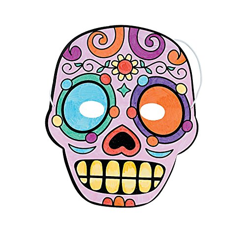 Fun Express - Cyo Day of The Dead Masks for Halloween - Craft Kits - CYO - Paper - Misc CYO - Paper - Halloween - 12 Pieces ()
