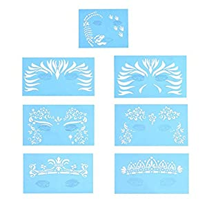 Face Paint Templates, 7 Pcs Reusable Facial Paint Stencil Body Painting Makeup Tattoo Design Tools