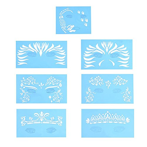 Face Paint Templates, 7 Pcs Reusable Facial Paint Stencil Body Painting Makeup Tattoo Design Tools]()