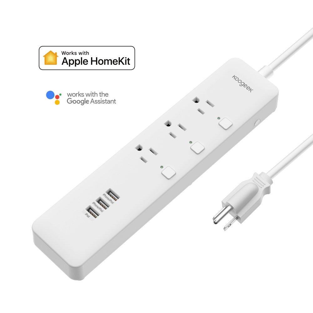 Koogeek Smart Surge Protector Wifi Power Strip 3 Outlets with 3 USB Charging Ports, Works with Apple HomeKit & Google Assistant, Compatible with Alexa, Timers, Remote Control on 2.4GHz Network