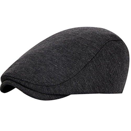 Wansan Men's Newsboy Gatsby Cabbie Hats Cotton Adjustable Driving Winter Hat Deep Grey