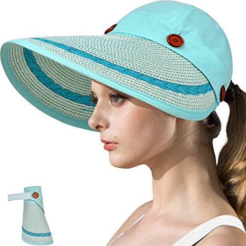 - LCZTN Womens UV Protection Hats Sun Visor for Girls Foldable Large Brim UPF Beach Ponytail Cap for Hiking Travel Fishing & Golf (Light Blue)