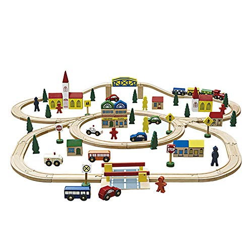 london-kate 100 Pcs Deluxe Wooden Train Set Fits Thomas, Brio, Chuggington, Melissa Doug, Wooden ()