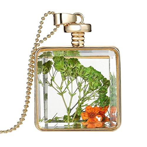 Gijoki Women Dried Flower Glass Square Perfume Bottle Pendant Necklace Pendants