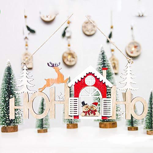 Hot Sale!DEESEE(TM)Christmas Snowman Wood Plate Hollow Door Hanging Wooden Pendant Xmas Decor (A) ()
