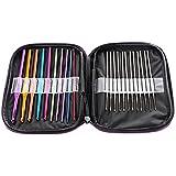 LIHAO 22pcs Mixed Aluminum Handle Crochet Hooks Knitting Knit Needles Weave Yarn Set