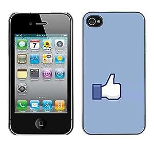 Paccase / SLIM PC / Aliminium Casa Carcasa Funda Case Cover para - Hand Sign Ok Thumb Up Blue Symbol Simple - Apple Iphone 4 / 4S