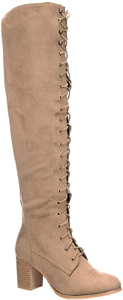 Nature Breeze Goliath 01 Womens Thigh High Lace UP Chunk Heel Combat Boots