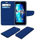 ACM Mobile Leather Flip Flap Wallet Case for Micromax Canvas Fire 5 Q386 Mobile Cover Blue