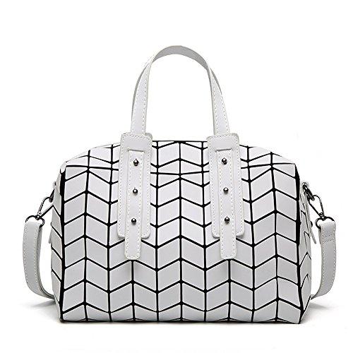 (JVPS 26-W) 2018 paquete de Boston para coser nuevo rincón japonés de diamantes tendencia Rubik cubo bolso estera bolso de moda Blanco, Blanca