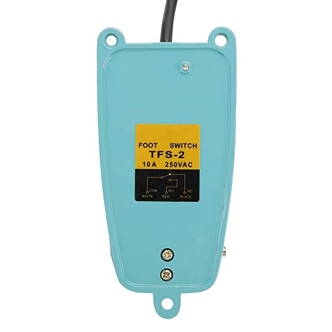 AC 250V 10A SPDT TFS-2 Aleaci/ón de aluminio antideslizante Interruptor de pedal de reinicio el/éctrico Interruptor de pedal de reinicio el/éctrico