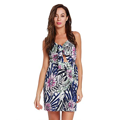 Midi Femmes Cou Imprimant Strap Dress Sexy Beach Bleu Wagyunfei V g0Bw77x