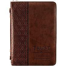 34;Trust34; Brown Tile Design Bible/Book Cover - Proverbs 3:5 (Medium)