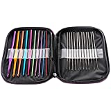 LIHAO Mixed Aluminum Handle Crochet Hooks Knitting Knit Needles Weave Yarn Set- 22 pieces