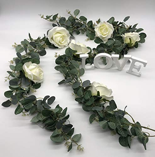 ANCHORED DECOR Artificial Eucalyptus Garland with Ivory Roses comes with Fairy Led Lights and Wooden Letter (LOVE) Blocks Greenery Garland Eucalyptus Leaves Wedding Backdrop Wall Decor