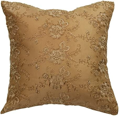 HomeCrate Swiss Embroidered Flowers Vintage Design 18 x 18 Throw Pillow