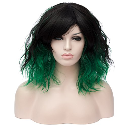 TopWigy Dark Green Wig Short Curly Wig 14 Inches Bob Wigs with Fringe for Women Cosplay Party Fancy Dress -