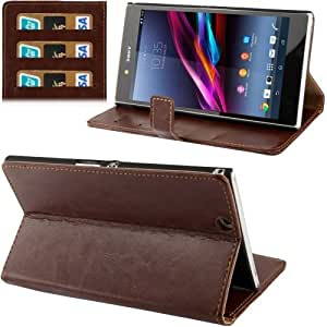 Fine Sheepskin Texture Flip Leather Case with Credit Card Slots & Holder for Sony Xperia Z Ultra / XL39h (Brown)