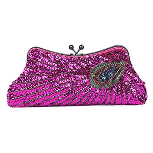 Dinner Sequins Bag Bridal Bag Zero Purse Peacock Cheongsam Shouldered Bag Bag Party Shoulder Ladies' Rose Dress Beaded Handbag Fashion Clutch tEwTqSEUR