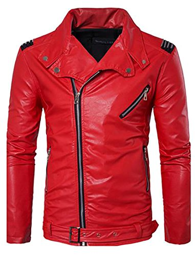 Leather Belted Motorcycle Jacket (Pandapang Mens Basic Zip Up Belted Design Motorcycle Faux Leather Jackets Red Small)