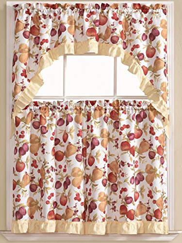 Golden Rugs 3pc Kitchen Curtain and Valance Set/1 Swag Valance and 2 Tiers,2 Tiers Width 30