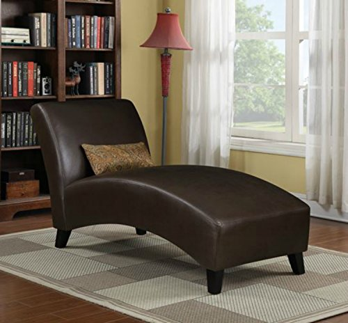 Contemporary Chaise Lounge Chair – This Polyester Upholstered Lounger Is Perfect for Your Home or Office -Put This Accent Sofa Furniture in the Bedroom or Living Room – Decor -1 Year Warranty! (Brown) For Sale