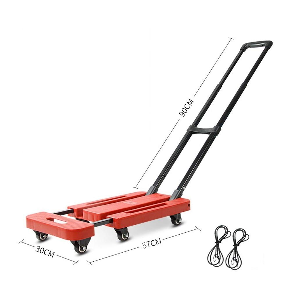 Household Folding Trolley, Van Trolley, Trolley, Portable Luggage Trailer, Trolley, Folding Flatbed Truck, Ordinary Models (Color : Red)