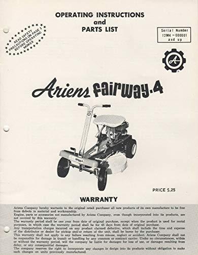 ARIENS FAIRWAY-4 RIDING LAWN MOWER OPERATORS/PARTS MANUAL FPB-65 (513)