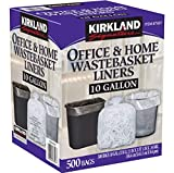 Kirkland Signature 10 Gallon Clear Wastebasket Liners Bags 500 Count- 2 Pack