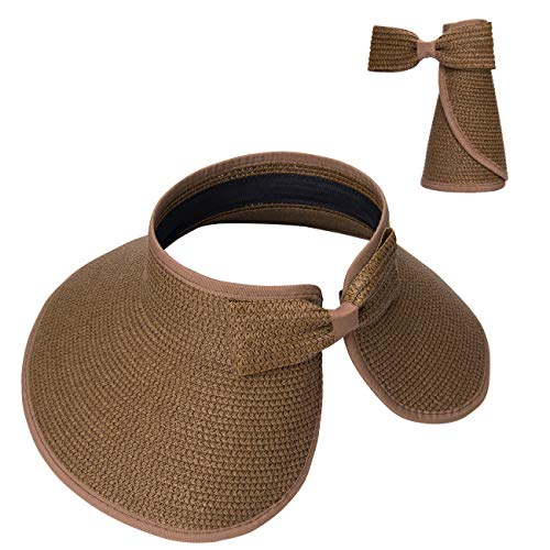 (Maylisacc Straw Sun Visors for Women Wide Brim Sunvisors Ladies Roll Up Beach Hat Summer Brown)