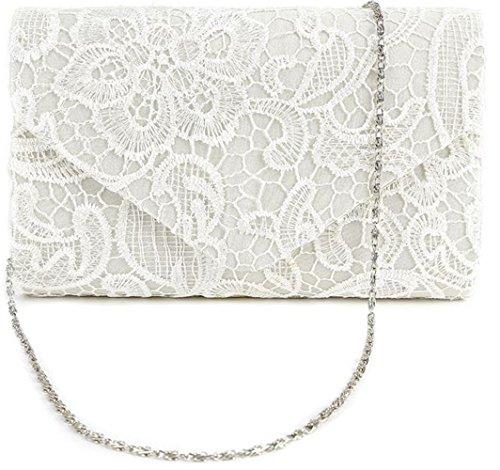 Nodykka Wedding Pleated Floral Lace Clutches Bag Evening Cross Body Handbags Purse by Nodykka