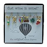 Wine Things 6-Piece Soaring Wine Charms, Painted