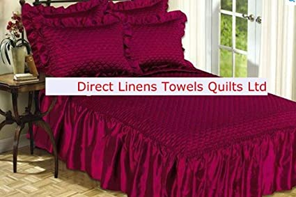 Greens Double Size Burgundy Rubey Luxury Quilted Satin Bedspread 2 Pillowshams Double Bed Throw Fitted with Frill