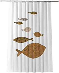 Albert Lindsay Backdrop Polyester Shower Curtains Fish Aquarium Concept for Posters Fabric Shower Curtains for Bathroom,Hooks Included,84x70 Inch