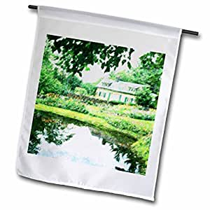 Florene Architecture - Traditional Home with Pond n Trees - 18 x 27 inch Garden Flag (fl_37414_2)