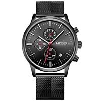 Mens Black Stainless Steel Calender Alloy Business Formal Quartz Wrist Watch for Man