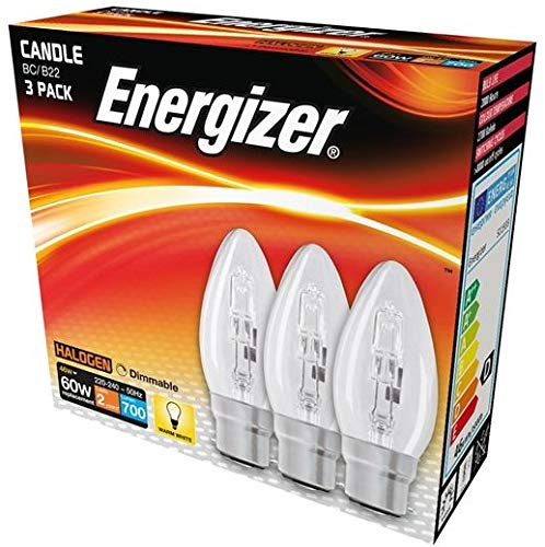 Energizer 46w (60w) Eco Halogen Candle Bulbs BC B22 Push in Dimmable Warm White Pack of 6 Foglish