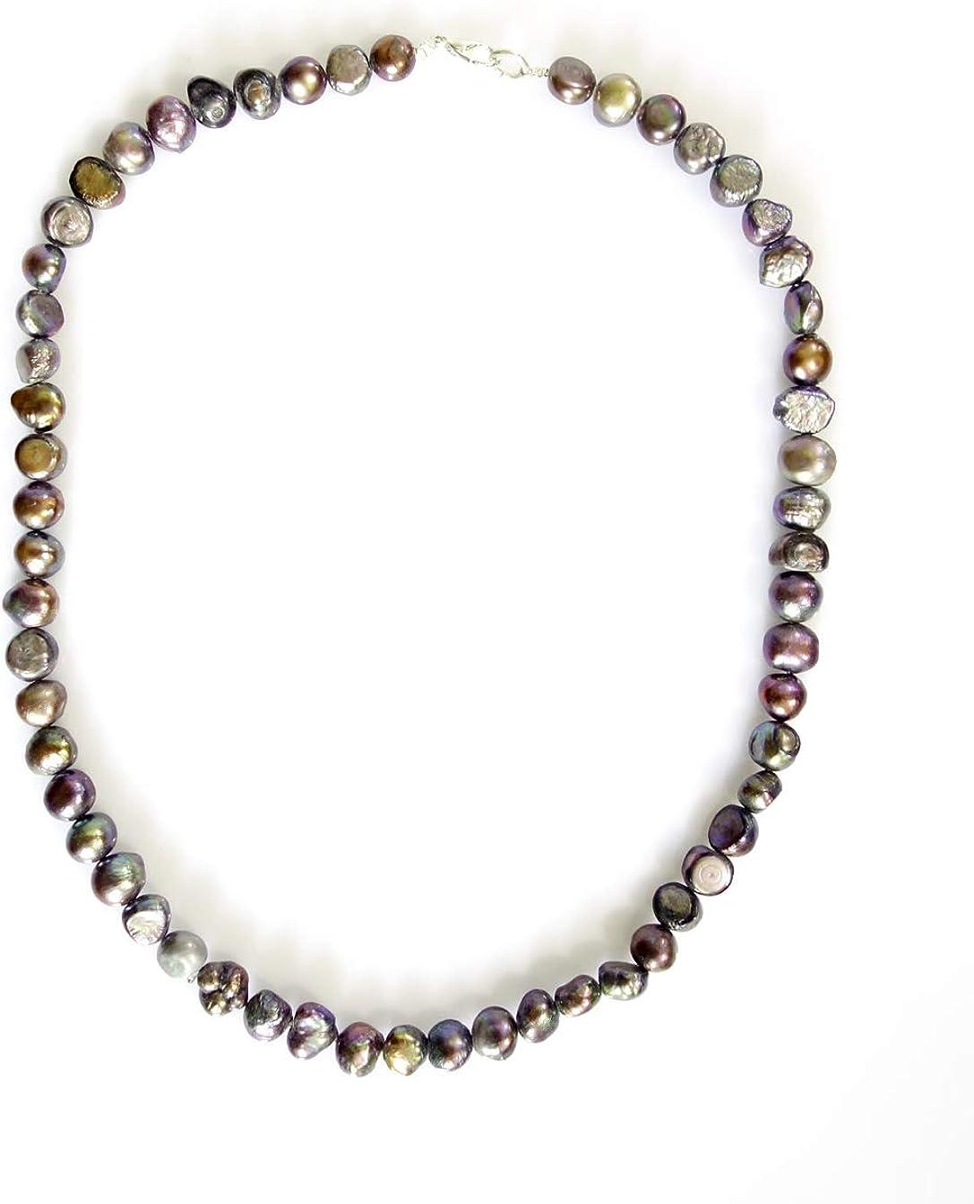 India Jewel Store Collar de Abalorios Hechos a Mano con Perlas de Piedras Preciosas Negras para Mujeres niñas Tribales étnicas Chapado en Plata único Collar único Elegante joyería por Artesano nepalí
