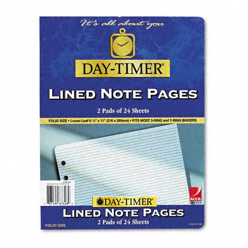 Day-Timer 87328 Lined Pages, 8 1/2 x - Lined Day Timer Notes